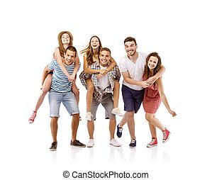 étudiants, groupe, heureux