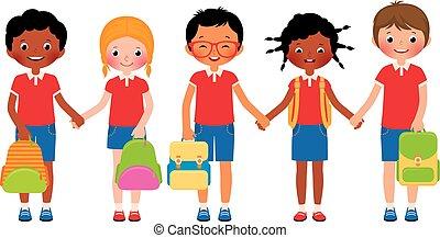 étudiants, groupe, schoo, enfants