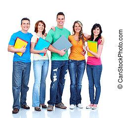 étudiants, groupe, teens.