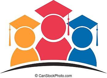 étudiants, groupe, trois, diplômés