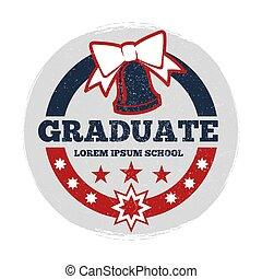 étudiants, grunge, vecteur, bannière, diplômé