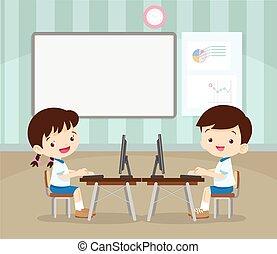 étudiants, informatique, apprentissage