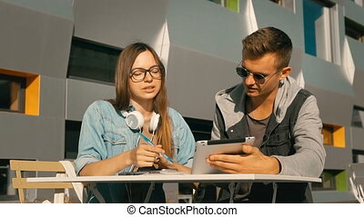 étudiants, informatique, tablette