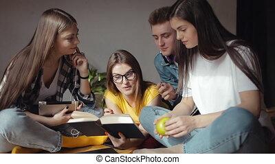 étudiants, là, part, idées, apprentissage, heureux