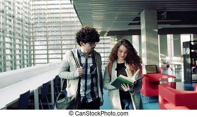 étudiants, library., jeune