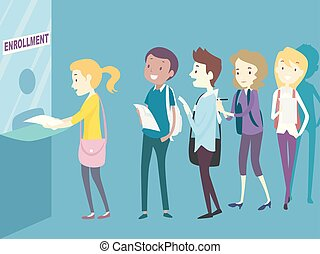 étudiants, ligne, collège, adolescents, enrollment