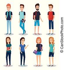 étudiants, livres, groupe
