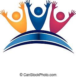 étudiants, logo, livre, collaboration