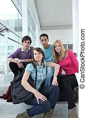 étudiants, lycee, groupe