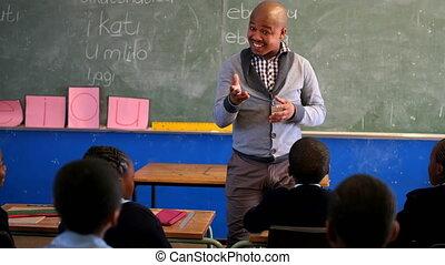 étudiants, mâle, enseignement, 4k, prof, classe