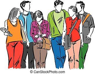 étudiants, marche, groupe, ados