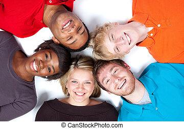 étudiants, multi-racial, gros plan, collège, faces