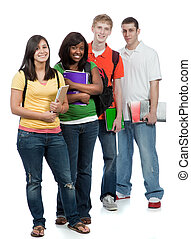 étudiants, multiculturel, collège