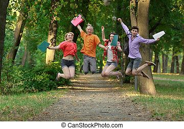 étudiants, parc, groupe, ruelle, triomphant