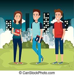 étudiants, parc, livres, groupe