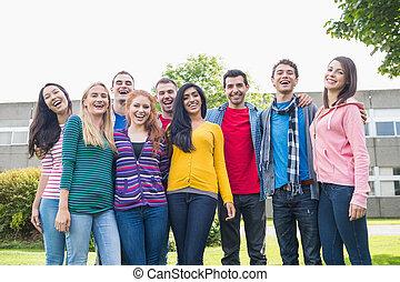 étudiants, parc, portrait, collège, groupe