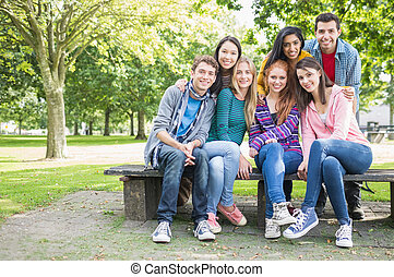 étudiants, parc, portrait, collège, jeune