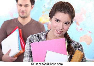 étudiants, partir, classe, deux