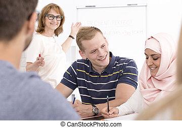 étudiants, pendant, coopérer, langue, cours