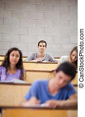 étudiants, pendant, portrait, conférence, jeune