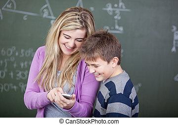 étudiants, plaisanterie, partage
