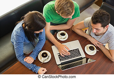 étudiants, portable utilisation, quoique, avoir café, à, café-restaurant