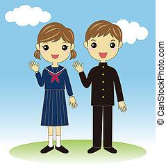 étudiants, porter, uniforme école