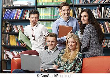 étudiants, portrait, prof, bibliothèque