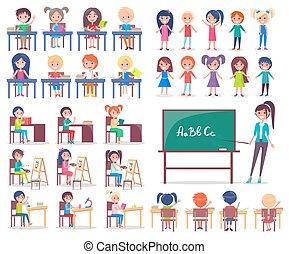 étudiants, prof, bureaux, isolé, séance