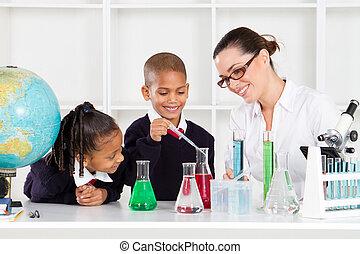 étudiants, professeur science, laboratoire