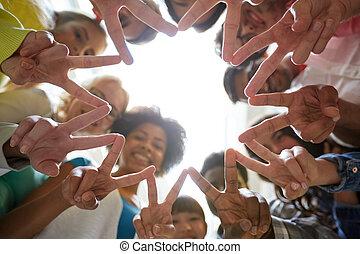 étudiants, projection, signe paix, v, international, ou