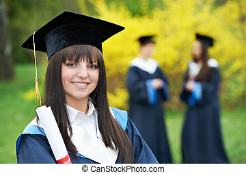étudiants, remise de diplomes, heureux