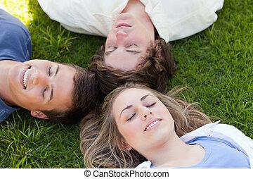 étudiants, reposer, trois, ensemble