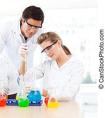 étudiants, science, éprouvettes, examiner