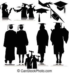étudiants, silhouettes, vecteur