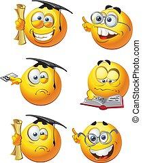étudiants, smilies, rond