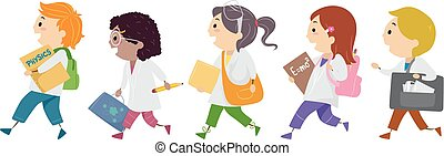 étudiants, stickman, gosses, physique, illustration