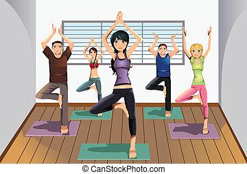 étudiants, studio yoga