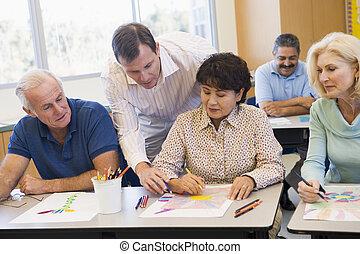 étudiants, techniques, art, mûrir, apprentissage