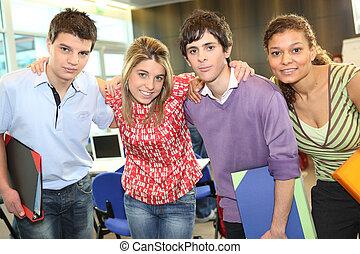 étudiants, tenu, classe, ensemble