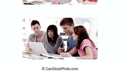 étudiants, toucher, vidéos, main