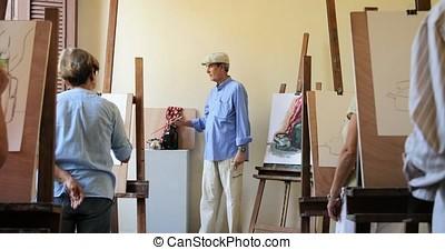 étudiants, travail, classe, personne agee, peinture, prof