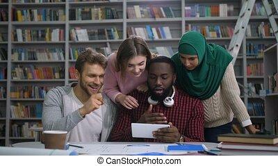 étudiants, vérification, examen, degrés, ligne, sur,...