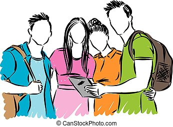 étudiants, vecteur, groupe, ados, illustration