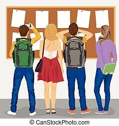 étudiants, vue, regarder, collège, dos, tableau affichage