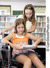 étudier, école, -, bibliothèque