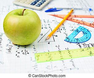 étudier, école, composition, dos, math