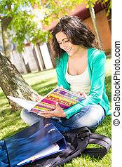 étudier, école, jardin, étudiant, jeune