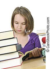 étudier, adolescente