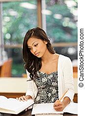 étudier, asiatique, étudiant